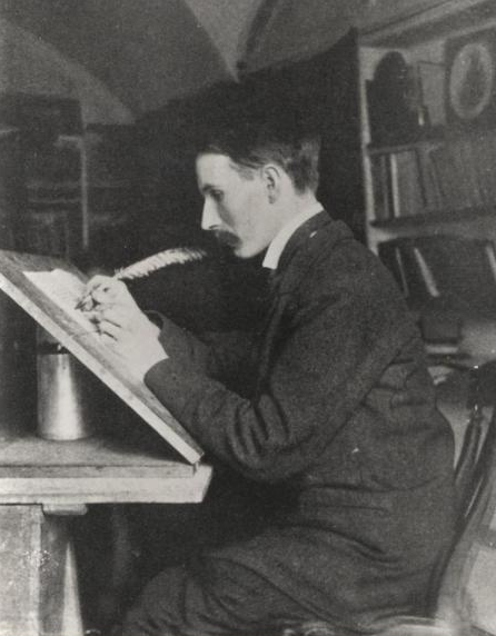 Edward Johnston doing calligraphy